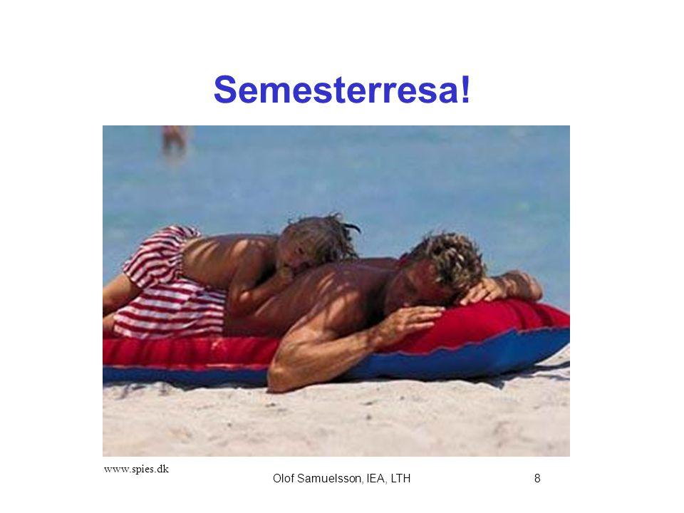 Olof Samuelsson, IEA, LTH8 Semesterresa! www.spies.dk