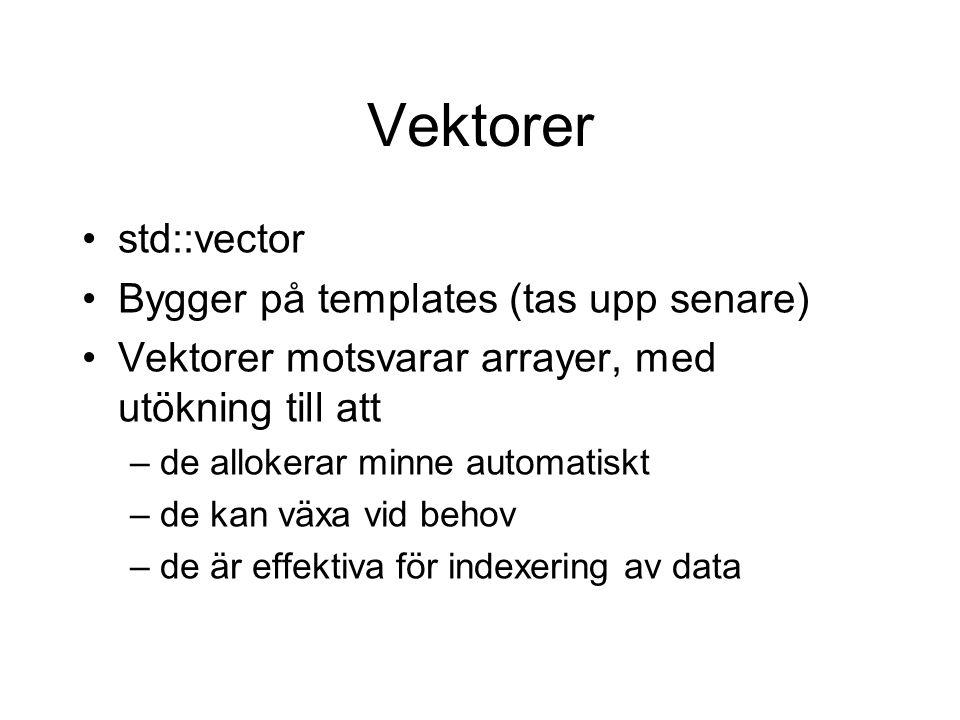 Vektorer std::vector Bygger på templates (tas upp senare) Vektorer motsvarar arrayer, med utökning till att –de allokerar minne automatiskt –de kan växa vid behov –de är effektiva för indexering av data