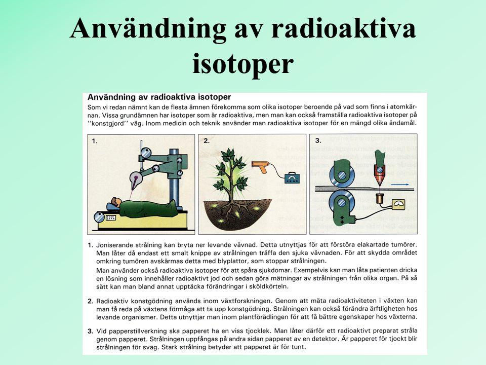 Användning av radioaktiva isotoper