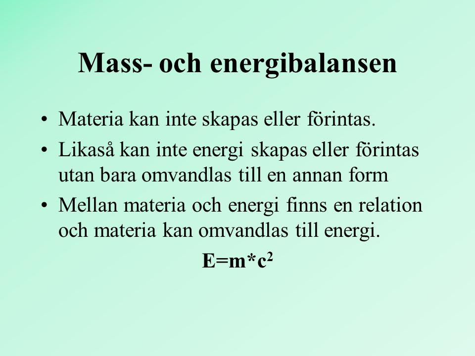 Mass- och energibalansen Materia kan inte skapas eller förintas. Likaså kan inte energi skapas eller förintas utan bara omvandlas till en annan form M