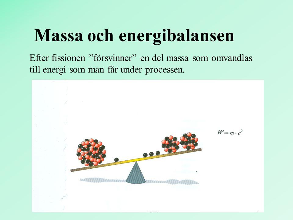 """Massa och energibalansen Efter fissionen """"försvinner"""" en del massa som omvandlas till energi som man får under processen."""