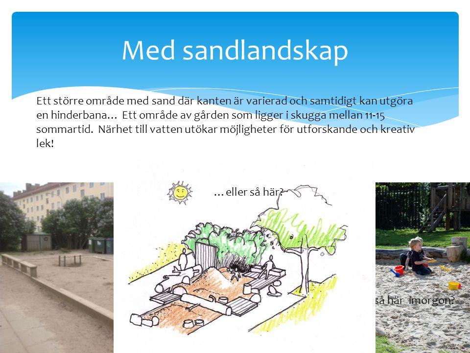 Med sandlandskap Ett större område med sand där kanten är varierad och samtidigt kan utgöra en hinderbana… Ett område av gården som ligger i skugga mellan 11-15 sommartid.
