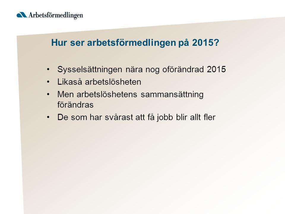 Hur ser arbetsförmedlingen på 2015.