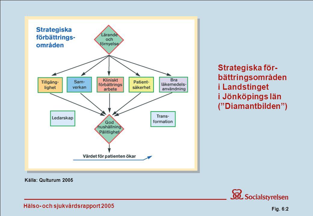 Hälso- och sjukvårdsrapport 2005 Strategiska för- bättringsområden i Landstinget i Jönköpings län ( Diamantbilden ) Källa: Qulturum 2005 Fig.