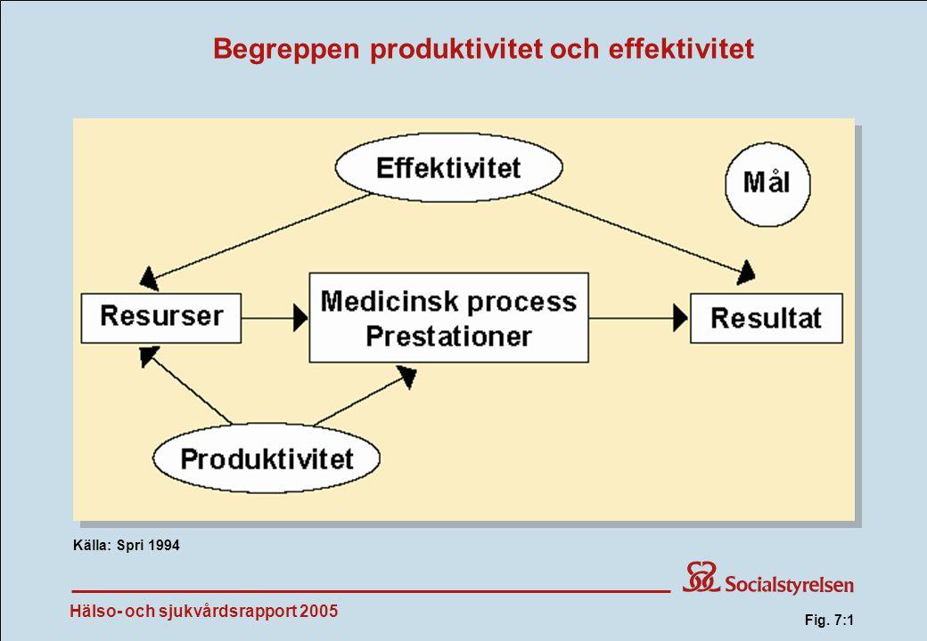 Hälso- och sjukvårdsrapport 2005 Begreppen produktivitet och effektivitet Källa: Spri 1994 Fig. 7:1