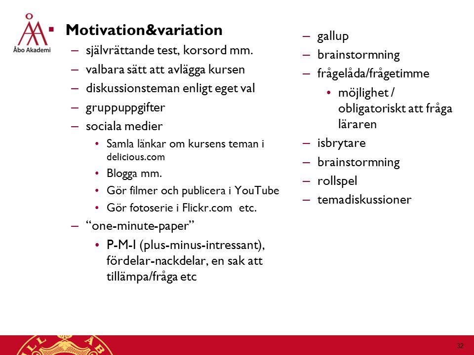  Motivation&variation – självrättande test, korsord mm.
