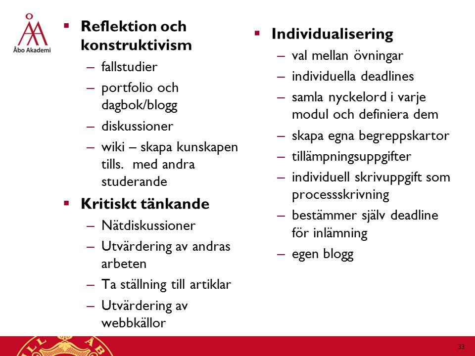  Reflektion och konstruktivism – fallstudier – portfolio och dagbok/blogg – diskussioner – wiki – skapa kunskapen tills.