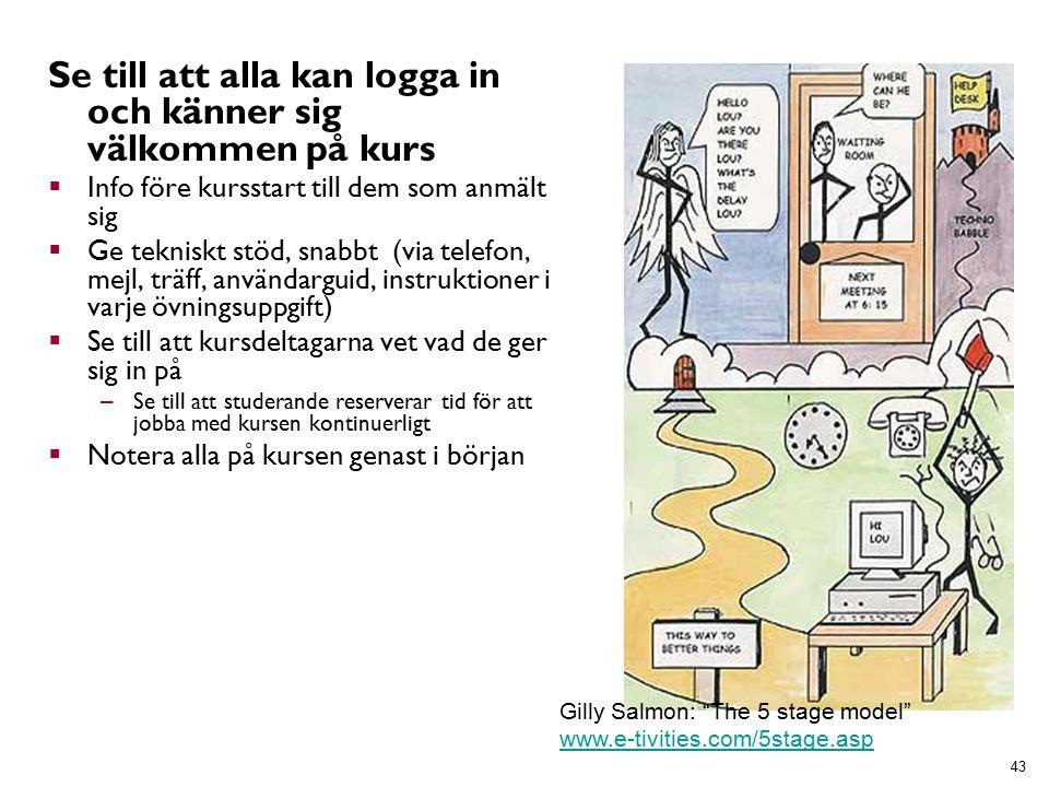 Se till att alla kan logga in och känner sig välkommen på kurs  Info före kursstart till dem som anmält sig  Ge tekniskt stöd, snabbt (via telefon, mejl, träff, användarguid, instruktioner i varje övningsuppgift)  Se till att kursdeltagarna vet vad de ger sig in på – Se till att studerande reserverar tid för att jobba med kursen kontinuerligt  Notera alla på kursen genast i början 43 Gilly Salmon: The 5 stage model www.e-tivities.com/5stage.asp www.e-tivities.com/5stage.asp