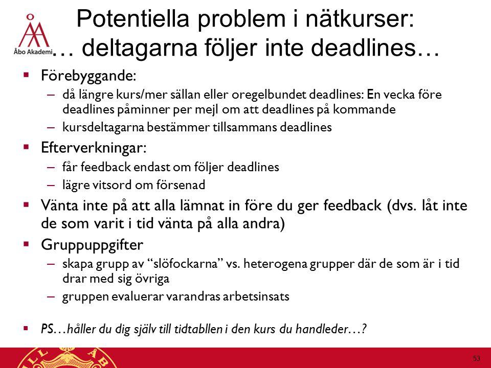  Förebyggande: – då längre kurs/mer sällan eller oregelbundet deadlines: En vecka före deadlines påminner per mejl om att deadlines på kommande – kursdeltagarna bestämmer tillsammans deadlines  Efterverkningar: – får feedback endast om följer deadlines – lägre vitsord om försenad  Vänta inte på att alla lämnat in före du ger feedback (dvs.