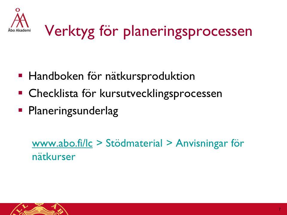 Verktyg för planeringsprocessen  Handboken för nätkursproduktion  Checklista för kursutvecklingsprocessen  Planeringsunderlag www.abo.fi/lcwww.abo.fi/lc > Stödmaterial > Anvisningar för nätkurser 7