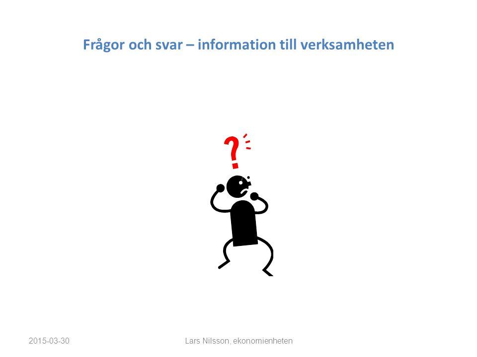Frågor och svar – information till verksamheten 2015-03-30Lars Nilsson, ekonomienheten