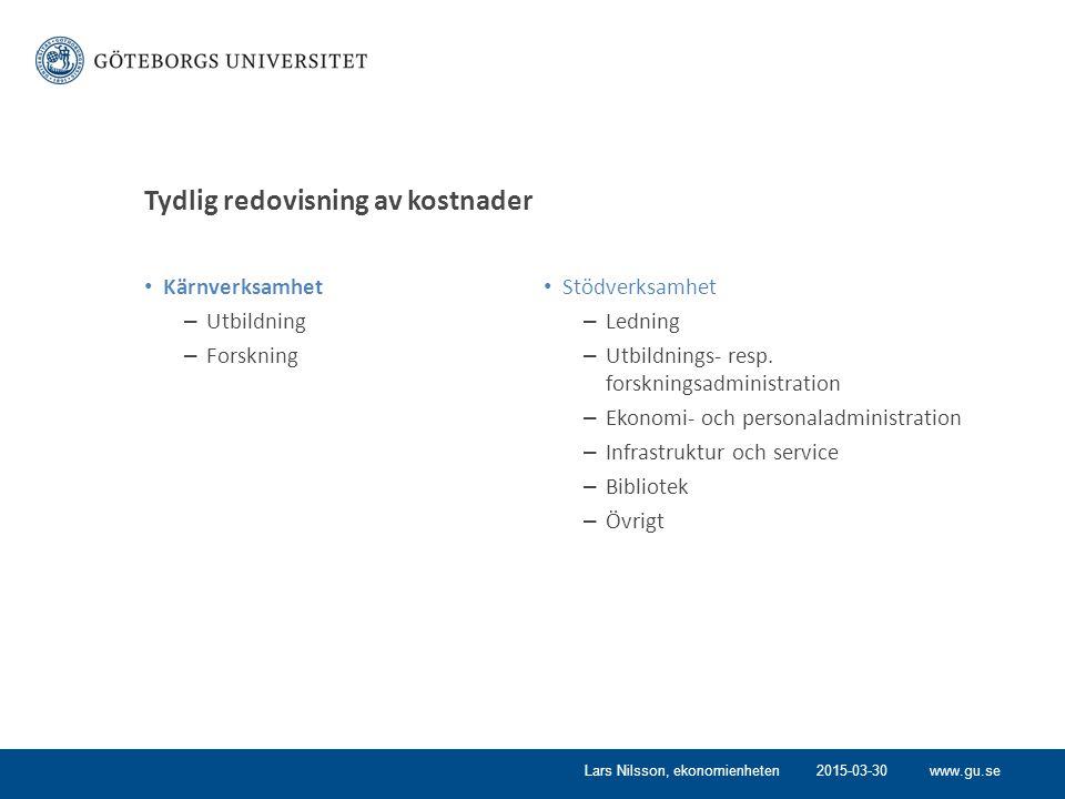 www.gu.se Tydlig redovisning av kostnader Kärnverksamhet – Utbildning – Forskning Stödverksamhet – Ledning – Utbildnings- resp.