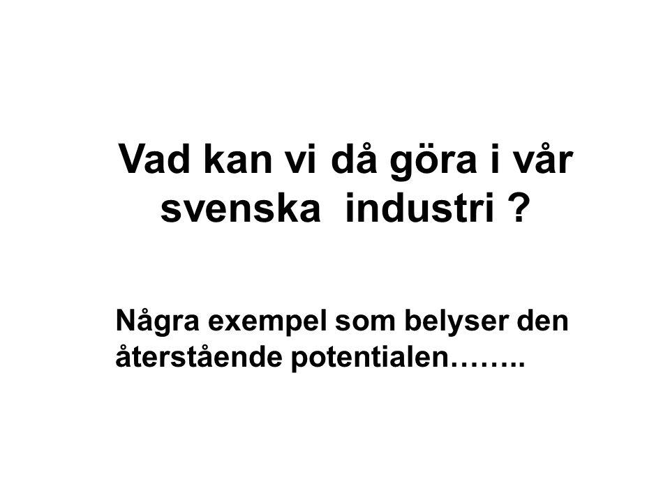 Vad kan vi då göra i vår svenska industri ? Några exempel som belyser den återstående potentialen……..