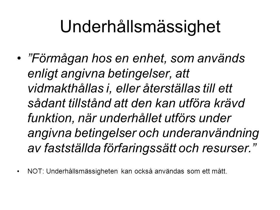 Johansson, K-E.(1993). Driftsäkerhet och underhåll.