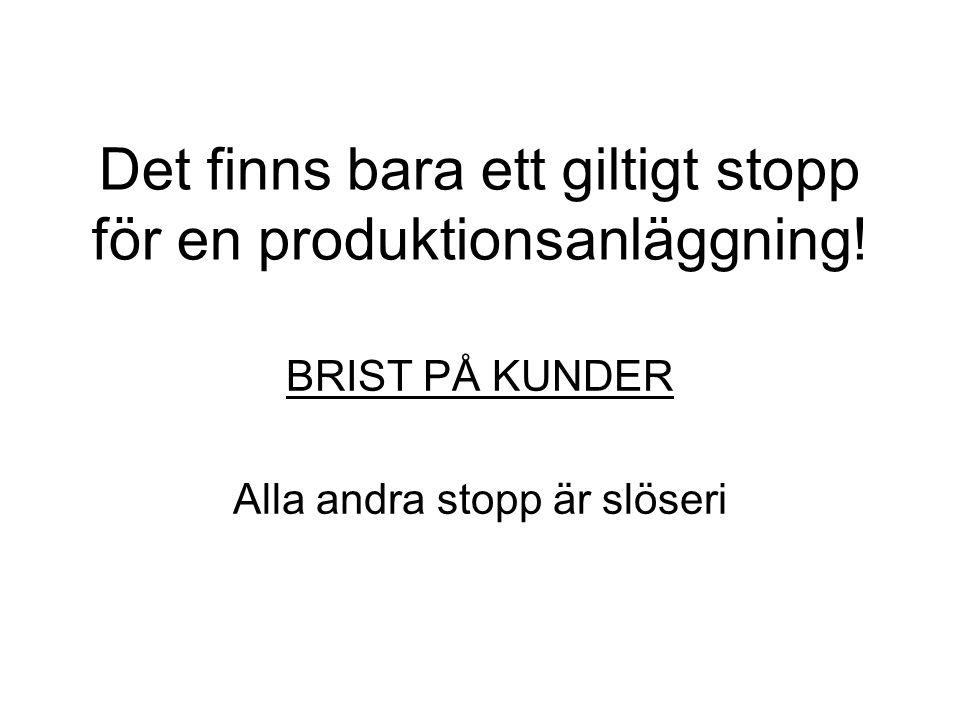 Det finns bara ett giltigt stopp för en produktionsanläggning! BRIST PÅ KUNDER Alla andra stopp är slöseri