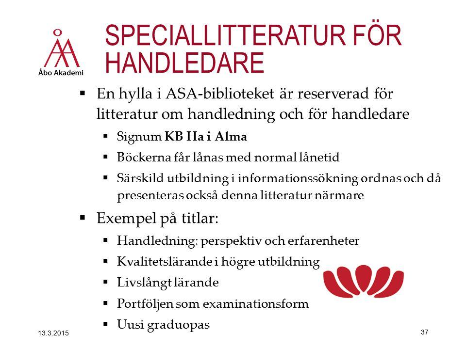 SPECIALLITTERATUR FÖR HANDLEDARE  En hylla i ASA-biblioteket är reserverad för litteratur om handledning och för handledare  Signum KB Ha i Alma  B
