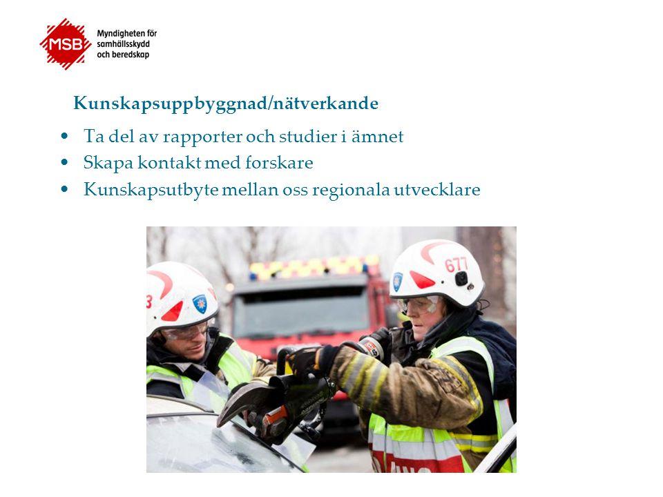 Regionala nätverk 8 regioner i landet Västra Götalands nätverk består av 30 kontaktpersoner Viktig stödfunktion vid lokalt arbete både gällande fysisk, psykisk arbetsmiljö eller rekryteringsproblematik Träffas minst en gång om året, tätare kontakter via mail och telefon Fler kontaktpersoner behövs från de stora förbunden