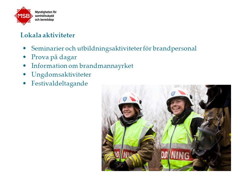 Lokala aktiviteter Seminarier och utbildningsaktiviteter för brandpersonal Prova på dagar Information om brandmannayrket Ungdomsaktiviteter Festivalde
