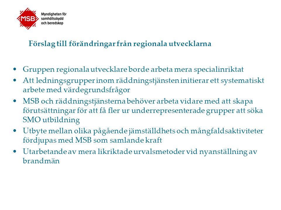 Förslag till förändringar från regionala utvecklarna Gruppen regionala utvecklare borde arbeta mera specialinriktat Att ledningsgrupper inom räddnings