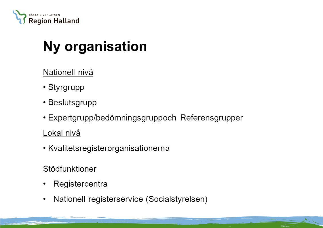 Ny organisation Nationell nivå Styrgrupp Beslutsgrupp Expertgrupp/bedömningsgruppoch Referensgrupper Lokal nivå Kvalitetsregisterorganisationerna Stödfunktioner Registercentra Nationell registerservice (Socialstyrelsen)