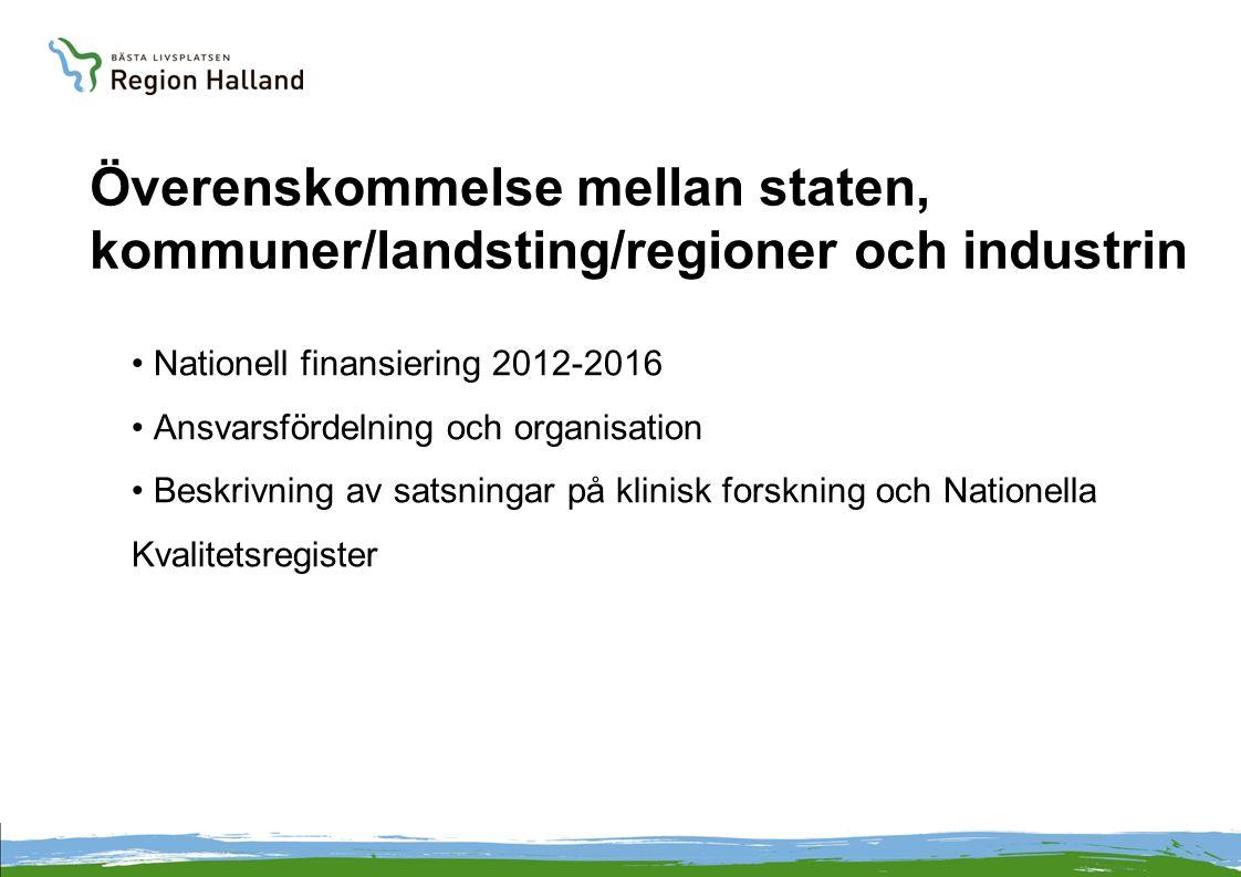 Överenskommelse mellan staten, kommuner/landsting/regioner och industrin Nationell finansiering 2012-2016 Ansvarsfördelning och organisation Beskrivning av satsningar på klinisk forskning och Nationella Kvalitetsregister