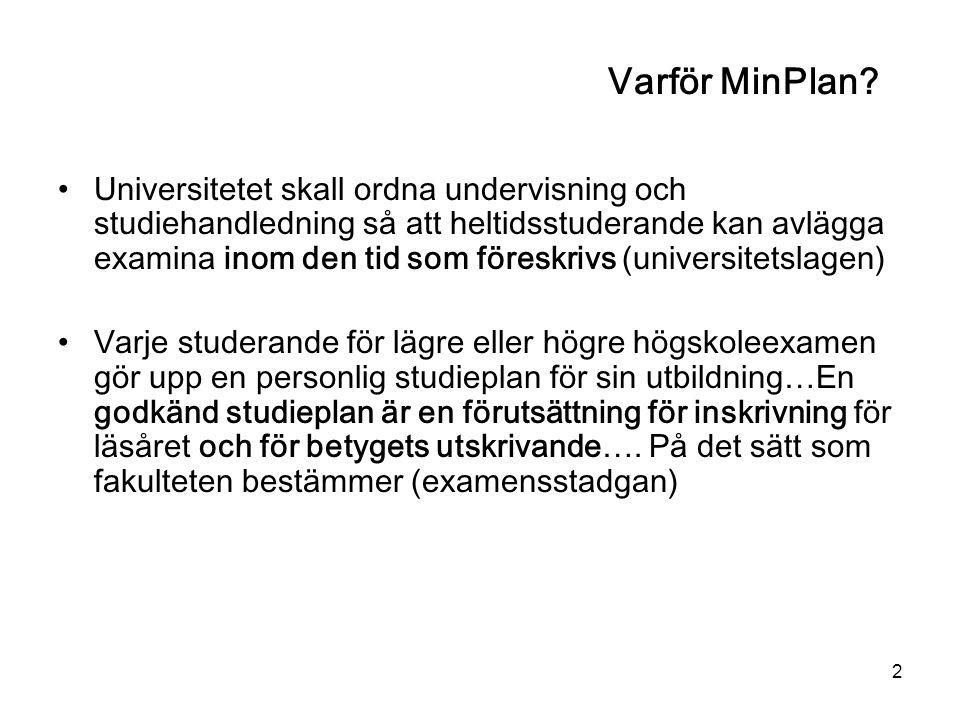 2 Varför MinPlan? Universitetet skall ordna undervisning och studiehandledning så att heltidsstuderande kan avlägga examina inom den tid som föreskriv
