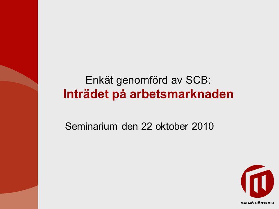 Enkät genomförd av SCB: Inträdet på arbetsmarknaden Seminarium den 22 oktober 2010