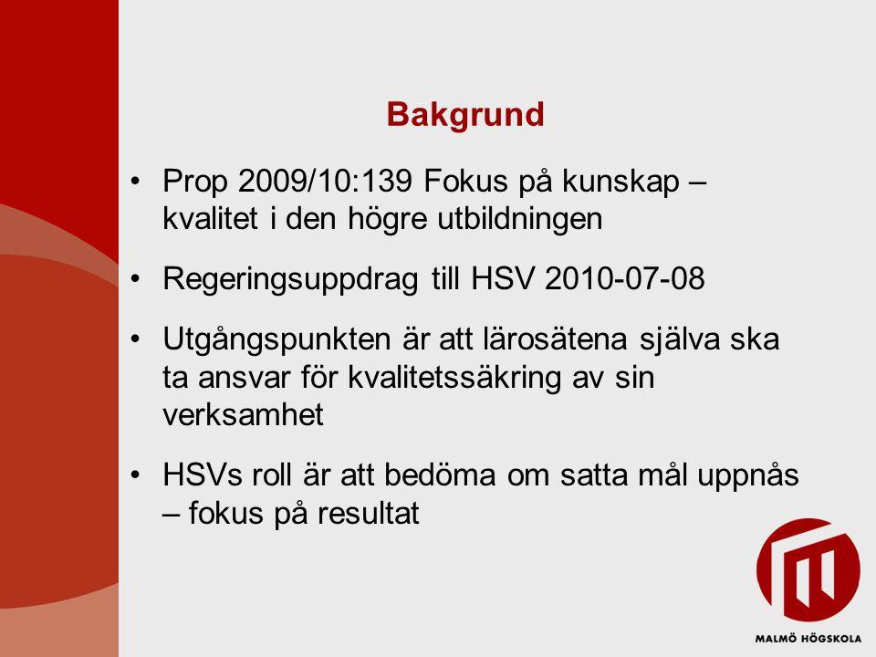 Bakgrund Prop 2009/10:139 Fokus på kunskap – kvalitet i den högre utbildningen Regeringsuppdrag till HSV 2010-07-08 Utgångspunkten är att lärosätena själva ska ta ansvar för kvalitetssäkring av sin verksamhet HSVs roll är att bedöma om satta mål uppnås – fokus på resultat