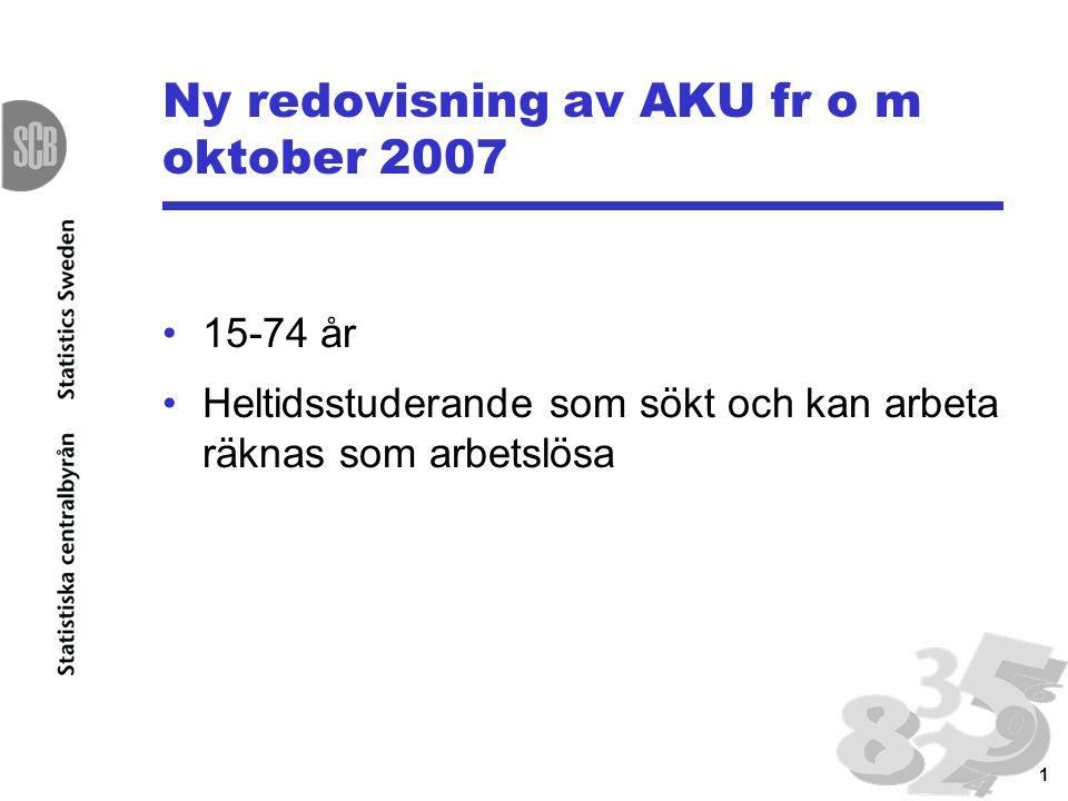 1 Ny redovisning av AKU fr o m oktober 2007 15-74 år Heltidsstuderande som sökt och kan arbeta räknas som arbetslösa