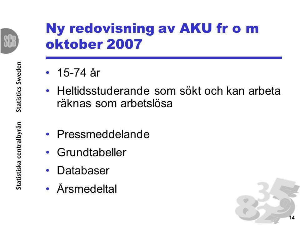 14 Ny redovisning av AKU fr o m oktober 2007 15-74 år Heltidsstuderande som sökt och kan arbeta räknas som arbetslösa Pressmeddelande Grundtabeller Da