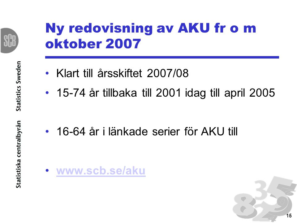 15 Ny redovisning av AKU fr o m oktober 2007 Klart till årsskiftet 2007/08 15-74 år tillbaka till 2001 idag till april 2005 16-64 år i länkade serier