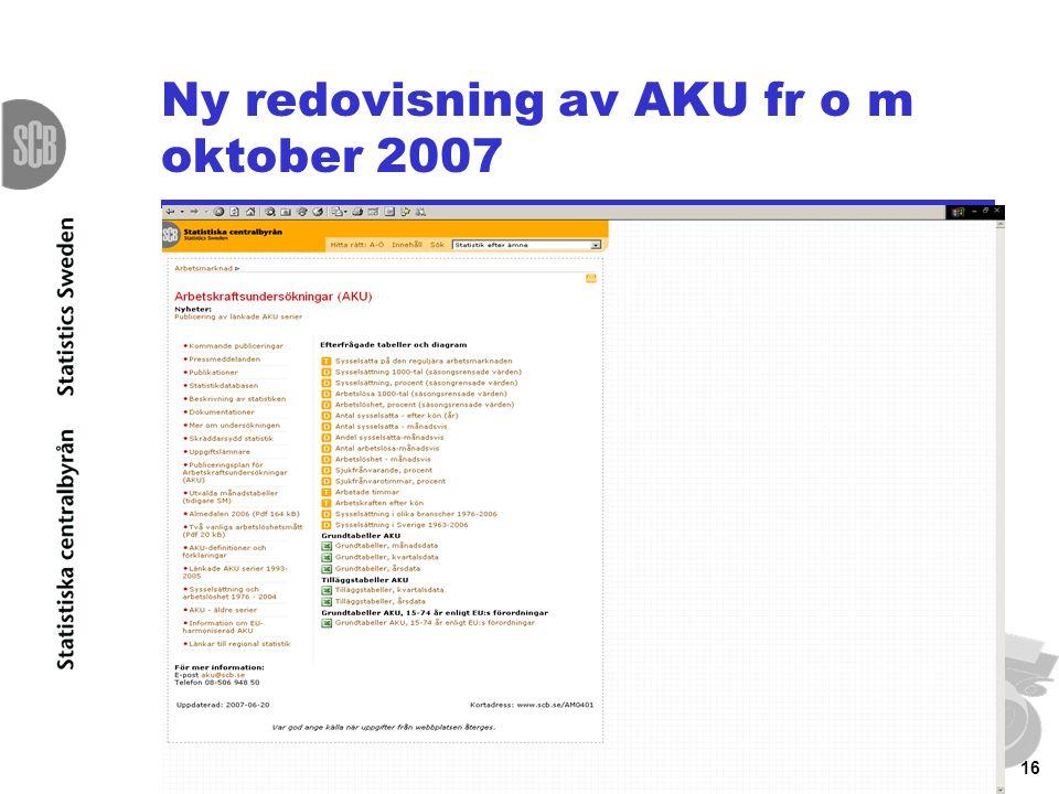 16 Ny redovisning av AKU fr o m oktober 2007