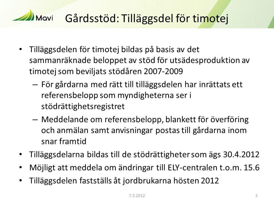 7.3.20125 Gårdsstöd: Tilläggsdel för timotej Tilläggsdelen för timotej bildas på basis av det sammanräknade beloppet av stöd för utsädesproduktion av