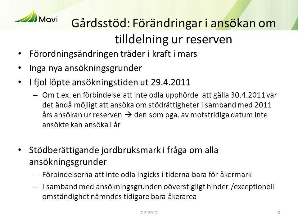 7.3.20126 Gårdsstöd: Förändringar i ansökan om tilldelning ur reserven Förordningsändringen träder i kraft i mars Inga nya ansökningsgrunder I fjol löpte ansökningstiden ut 29.4.2011 – Om t.ex.