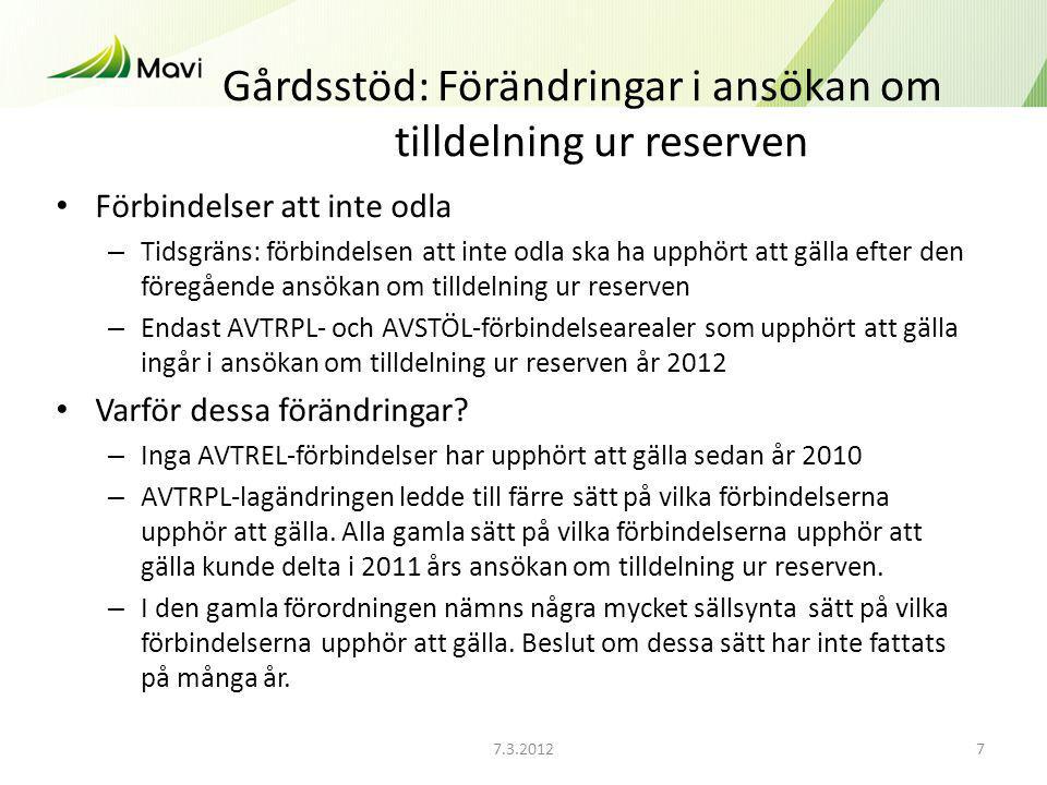 7.3.20127 Gårdsstöd: Förändringar i ansökan om tilldelning ur reserven Förbindelser att inte odla – Tidsgräns: förbindelsen att inte odla ska ha upphört att gälla efter den föregående ansökan om tilldelning ur reserven – Endast AVTRPL- och AVSTÖL-förbindelsearealer som upphört att gälla ingår i ansökan om tilldelning ur reserven år 2012 Varför dessa förändringar.