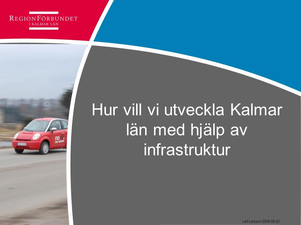 Hur vill vi utveckla Kalmar län med hjälp av infrastruktur Leif Larsson 2009-05-20