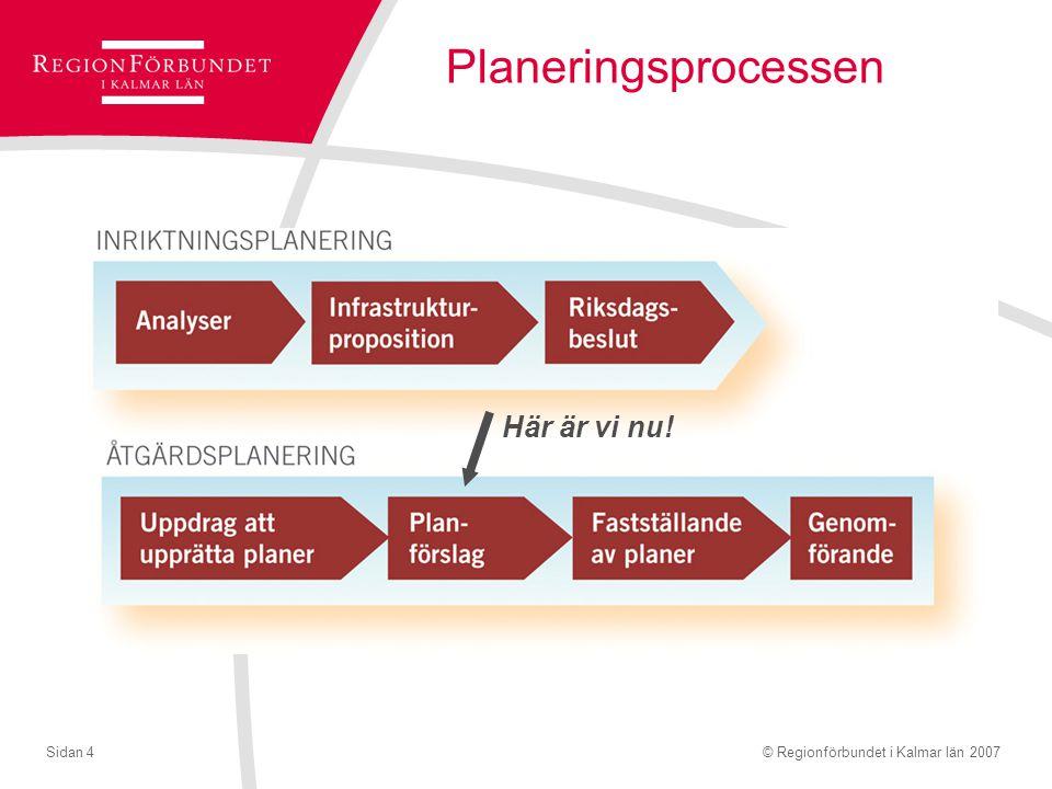 © Regionförbundet i Kalmar län 2007Sidan 4 Planeringsprocessen Här är vi nu!