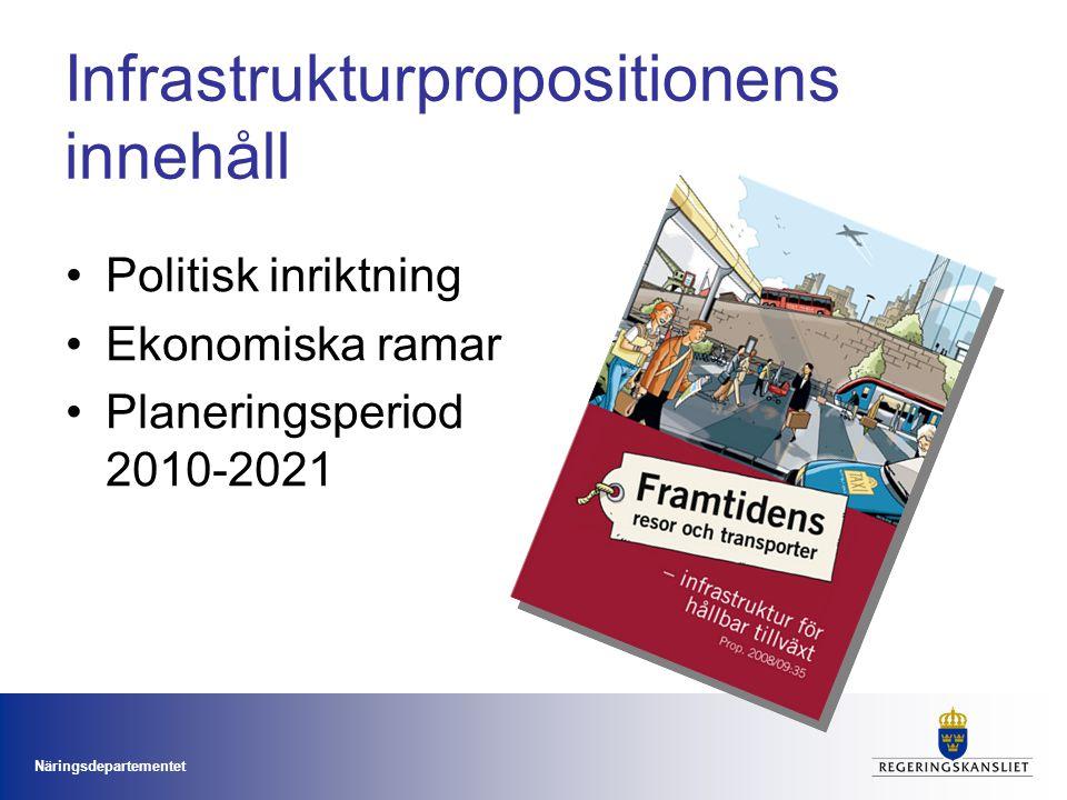 Näringsdepartementet Infrastrukturpropositionens innehåll Politisk inriktning Ekonomiska ramar Planeringsperiod 2010-2021