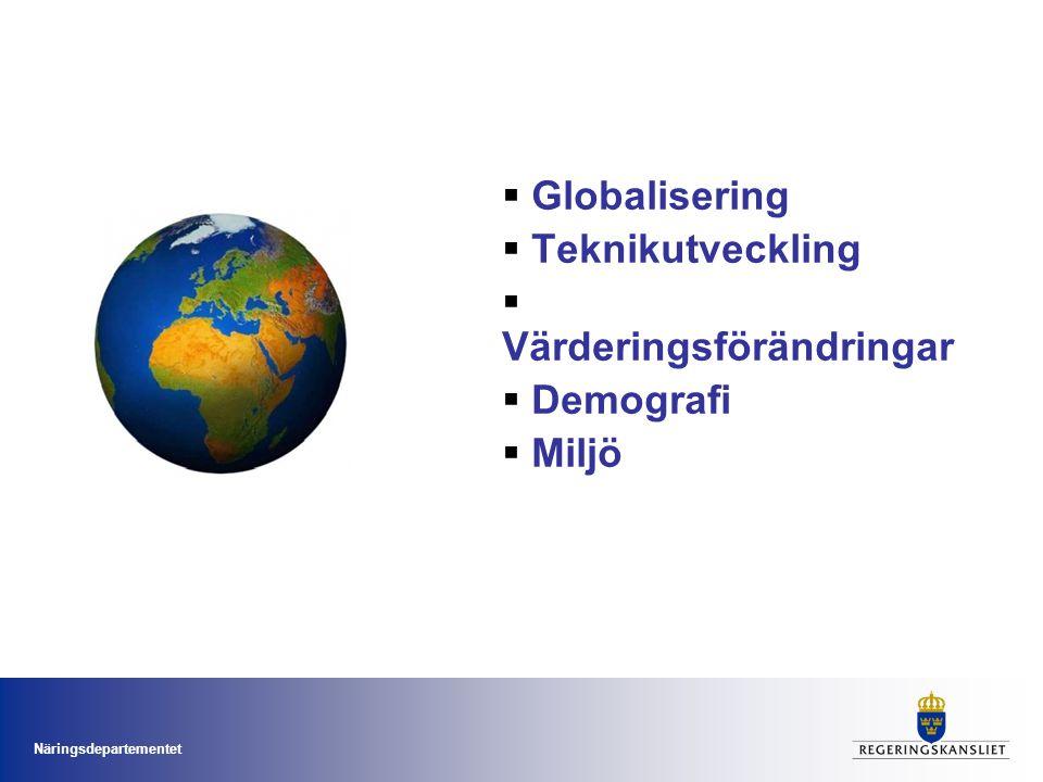Näringsdepartementet  Globalisering  Teknikutveckling  Värderingsförändringar  Demografi  Miljö