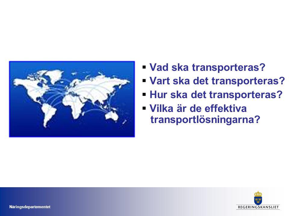 Näringsdepartementet Nu går vi vidare Höghastighetståg Den fysiska planprocessen Kollektivtrafiklagstiftning Konkurrens på spåren Företags medfinansieringsmöjligheter Anpassade banavgifter Kommunala beslut om trängselskatt Nya transportpolitiska mål