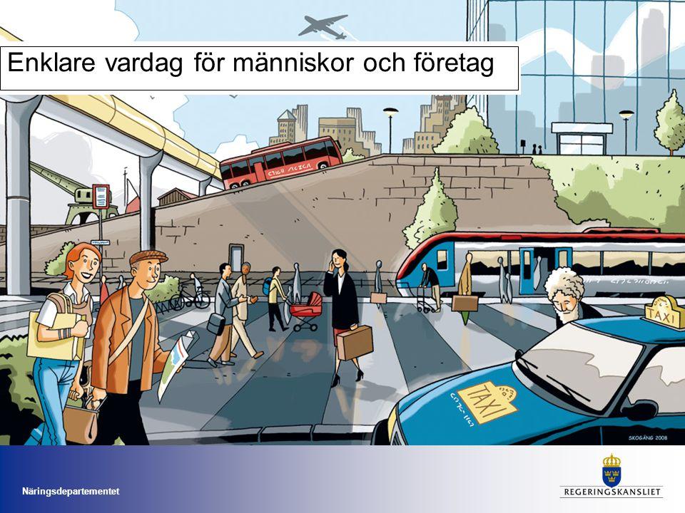 Näringsdepartementet Det här vill vi Användarperspektiv Trafikslag i samverkan Hållbart transportsystem Ökad effektivitet Mer för pengarna Låt människors behov stå i centrum.