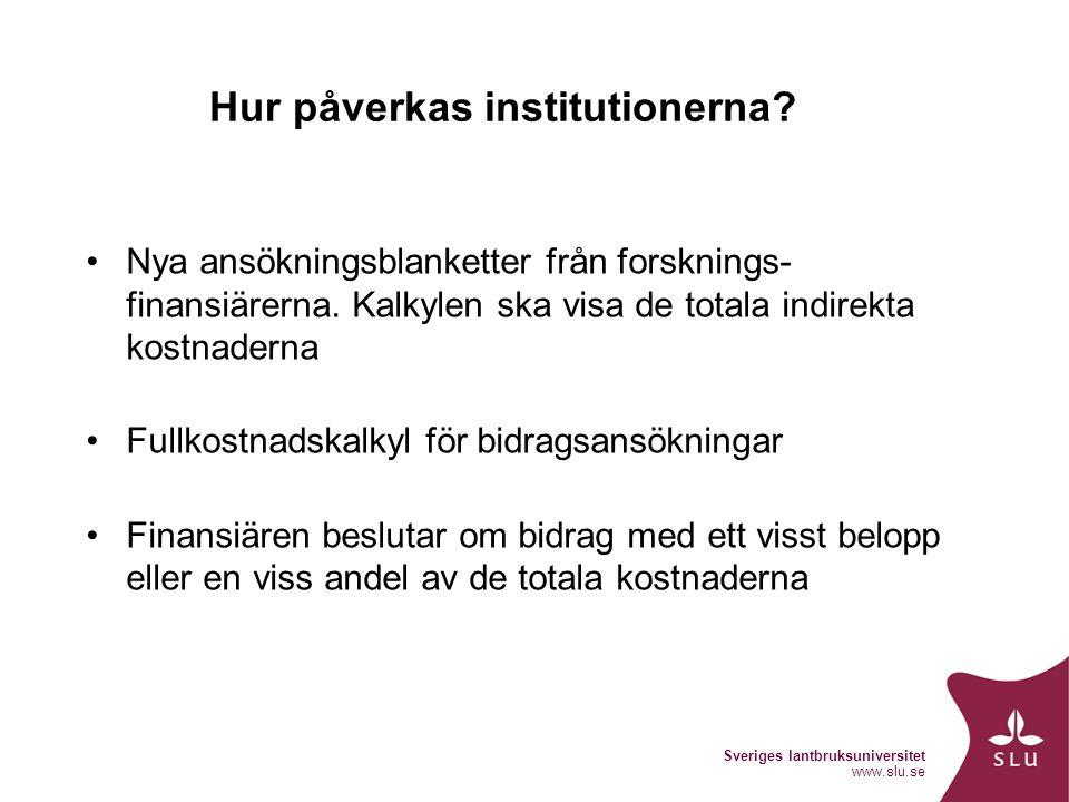 Sveriges lantbruksuniversitet www.slu.se Fullkostnadskalkyl Ny kalkyl för bidragsansökningar har utformats efter SUHFs rekommendationer Finns att hämta i VP/VB Ska användas för alla nya ansökningar från och med 2010 3 flikar – vad ska med i ansökan.
