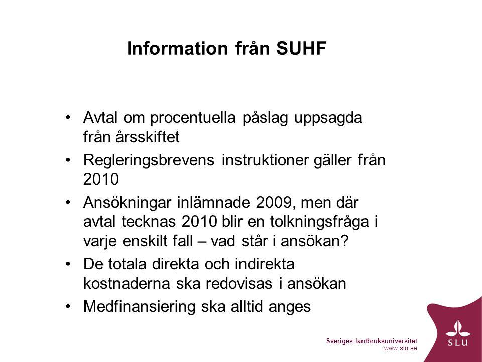 Sveriges lantbruksuniversitet www.slu.se Information från SUHF Avtal om procentuella påslag uppsagda från årsskiftet Regleringsbrevens instruktioner gäller från 2010 Ansökningar inlämnade 2009, men där avtal tecknas 2010 blir en tolkningsfråga i varje enskilt fall – vad står i ansökan.
