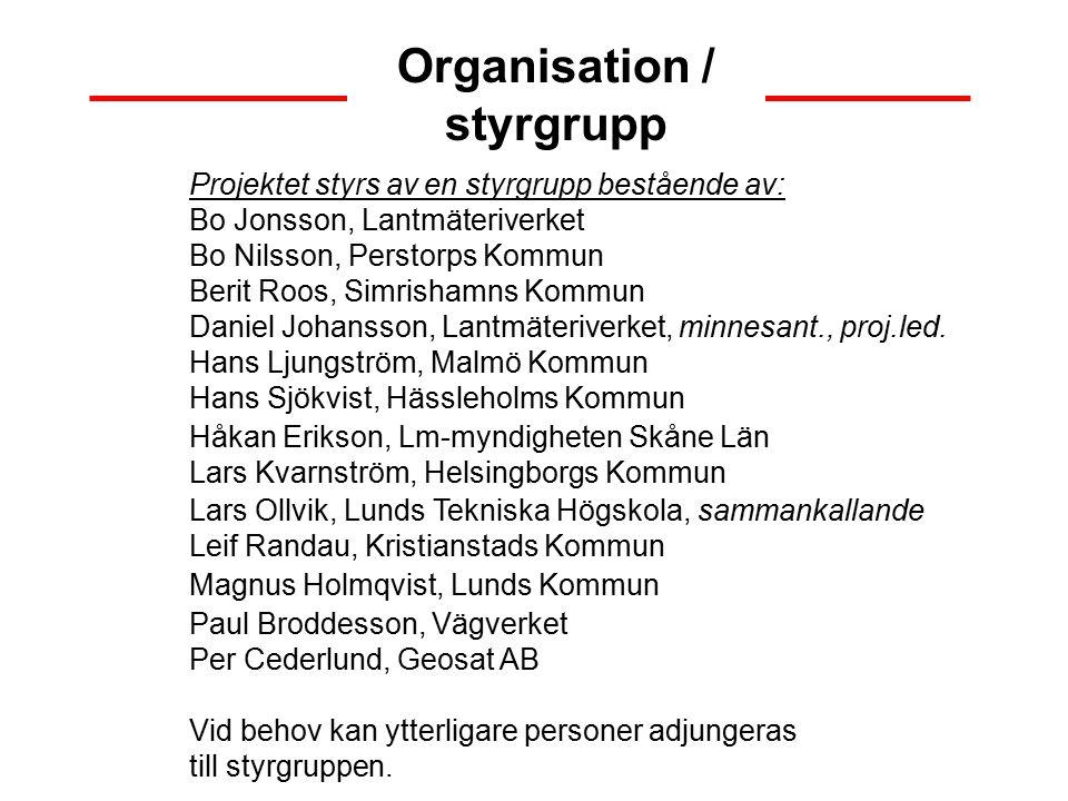Organisation / styrgrupp Projektet styrs av en styrgrupp bestående av: Bo Jonsson, Lantmäteriverket Bo Nilsson, Perstorps Kommun Berit Roos, Simrishamns Kommun Daniel Johansson, Lantmäteriverket, minnesant., proj.led.