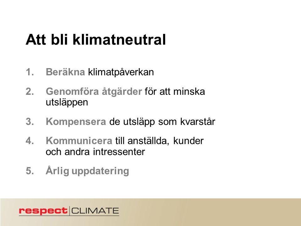 Att bli klimatneutral 1.Beräkna klimatpåverkan 2.Genomföra åtgärder för att minska utsläppen 3.Kompensera de utsläpp som kvarstår 4.Kommunicera till anställda, kunder och andra intressenter 5.Årlig uppdatering