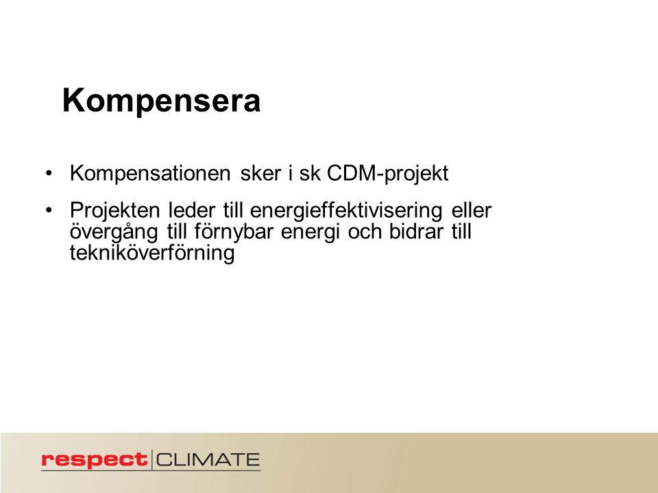 Kompensera Kompensationen sker i sk CDM-projekt Projekten leder till energieffektivisering eller övergång till förnybar energi och bidrar till tekniköverförning