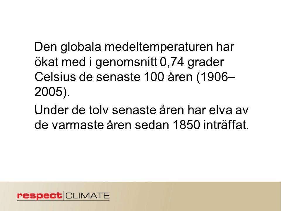 Den globala medeltemperaturen har ökat med i genomsnitt 0,74 grader Celsius de senaste 100 åren (1906– 2005).