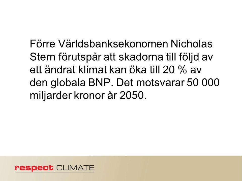 Förre Världsbanksekonomen Nicholas Stern förutspår att skadorna till följd av ett ändrat klimat kan öka till 20 % av den globala BNP.