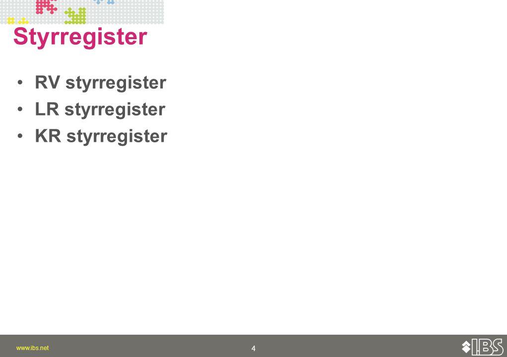 www.ibs.net 4 4 Styrregister RV styrregister LR styrregister KR styrregister