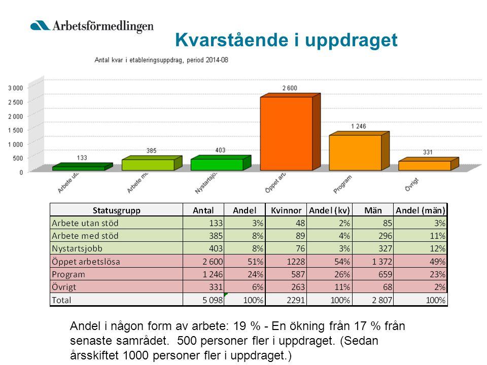 Kvarstående i uppdraget Andel i någon form av arbete: 19 % - En ökning från 17 % från senaste samrådet.